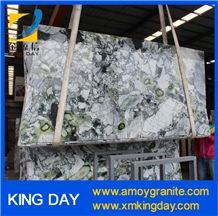 White Marble with Green Veins Big Slabs, Chinese Green Marble, Cool Emerald Marble, Ice Jade Green