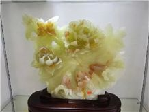 Green Onyx Flower Handicraft Carving,Green Jade Carved Gifts