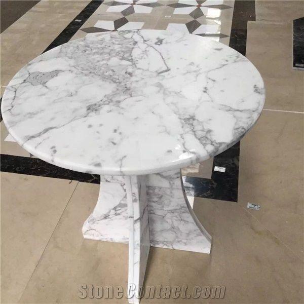 Brand-new Cheap Price-Bianco Statuario Carrara Marble Interior Round Table  RL78