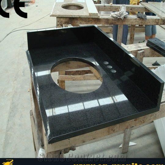 Black Granite Countertops Vanity Top One Piece Bathroom Home Depot China Tops