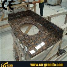 Tan Brown Granite Tops Bathroom Vanity Top Prefab Granite Bathroom