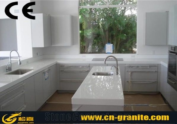 White Marble Gloss Artificial Stone Top Kitchen Cabinet Countertops And Desk Tops