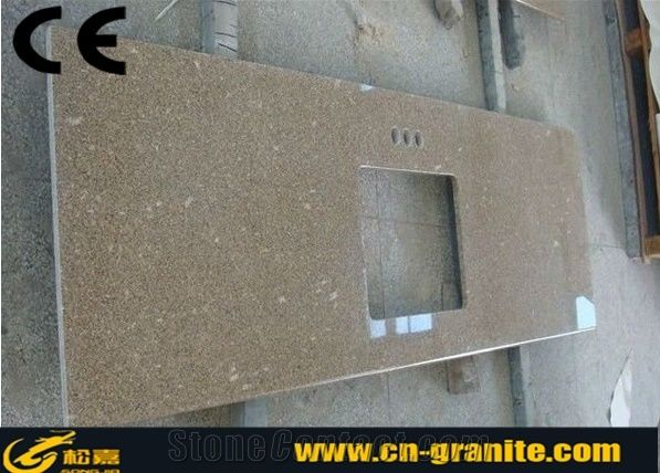 Yellow Granite Kitchen Countertops Top Table Material High Gloss Quality Cabinet