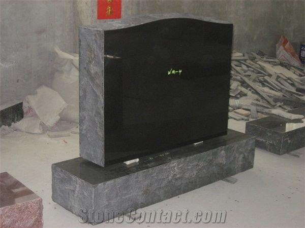 Black Granite Headstone Upright Us Style Monuments From