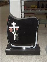 Custom Cross Headstone Shanxi Black Granite Monument & Tombstone