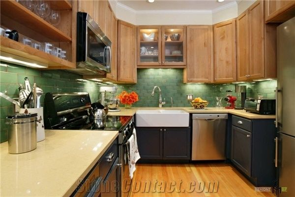 Bst Beige Color Corian Stone Pre-Fabricated Tops Customized Kitchen Countertop Shapes with Various Edge Profiles - Bestone Quartz Surfaces Co. Ltd. & Bst Beige Color Corian Stone Pre-Fabricated Tops Customized Kitchen ...