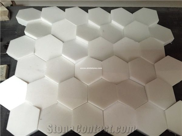 3d Hexagon Thassos Marble Mosaic Tile For Wall Decoration