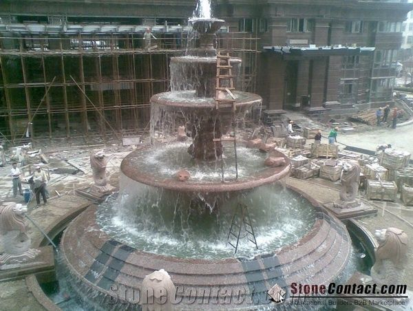 Carmen Red Granite Fountains, Garden Fountains, Big Rolling Sphere Fountains,  Sculptured Fountains, Exterior Fountains, Floating Ball Fountains, Water ...