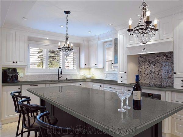 Gentil Pure Grey/Dark Grey Quartz Kitchen Countertop Smoke Quartz Stone Countertop  Slabs Engineered Stone Kitchen Countertop