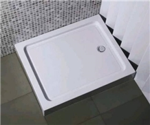 White Bathroom Artificial Shower Pans