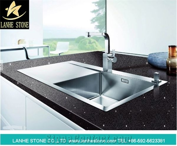Black Engineered Stone Quartz Countertops Caesar Kitchen Tops White Artificial
