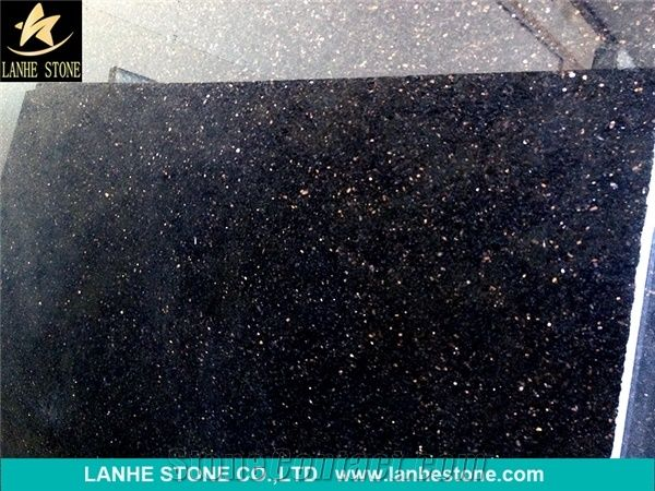 Popular Black Galaxy Granite Tiles Slabs India Polished Granite
