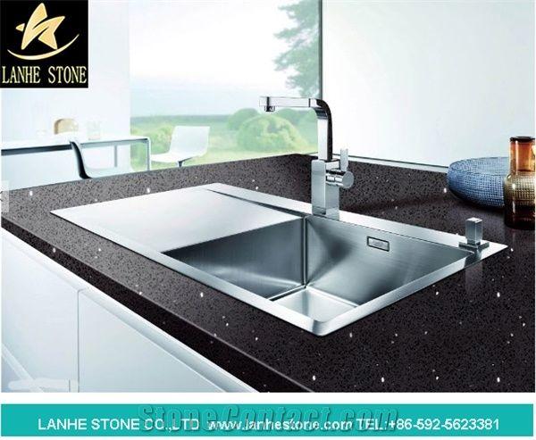 Pure Black Quartz Kitchen Countertop Engineered Stone Kitchen