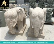 Yellow Granite Landscape Cute Animal Sculpture, Natural Stone Handcarved Garden Decoration Statues,Elephant Statues