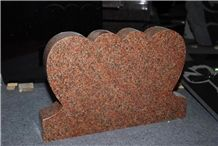Double Heart Shaped Headstone Monument & Tombstone