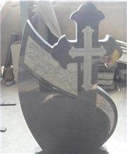 G654 Padang Dark Granite Cross Monument & Tombstone