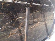 Kashan Golden Black Marble Tiles & Slabs, Polished Marble Floor Tiles, Wall Tiles