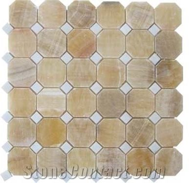 Beige Honey Onyx Hexagon Mosaic Tiles For Walling Flooring Covering China