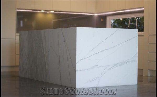 Bianco Carrara White Marble Reception Countertop Natural