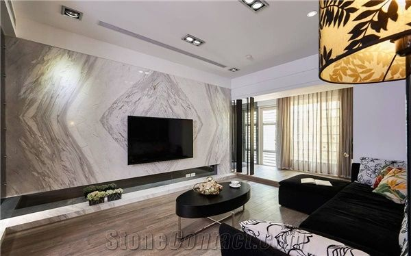 Bianco Carrara White Marble Tiles,Marble Slabs For Wall Covering /Living  Room Wall Tv Background