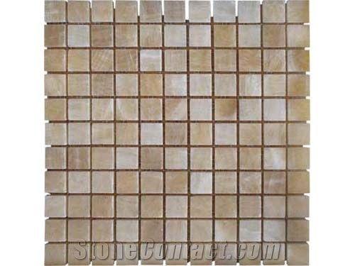 China Honey Onyx Mosaic Polished Tiles Brick For Bathroom Walling Design Floor