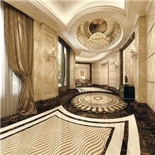 Crema Marfil Marble& Amarillion Oro Marble Thin Laminated Ceramic Back Water-Jet Medallion