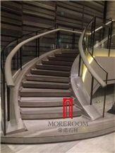 Dark Grey Wood Grain Marble Stairs, Grey Marble Floor Design Pictures