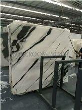 White and Black China Panda White Marble Slabs