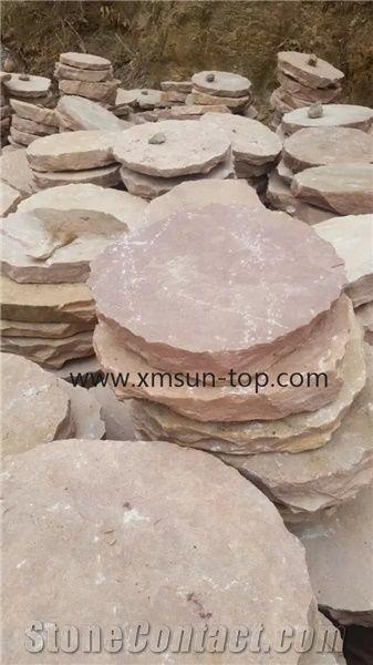 Pink Sandstone Stepping Stone Round Sandstone Stepping