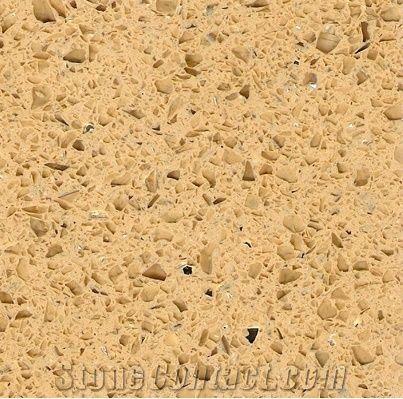Golden Quartz Tiles Slabs Yellow Engineered Stone Flooring