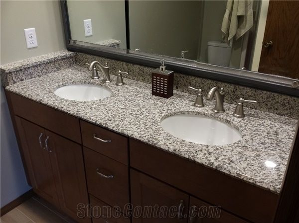 Granite big flower white g439 bathroom vanity counter tops for 3 4 inch granite countertops