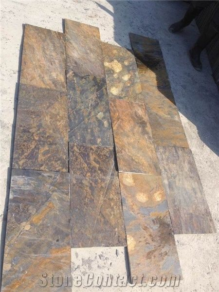 Multicolor Riven Slate Tiles Rusty Split Face Slate Paving