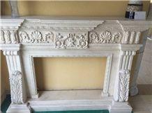 Galala Beige Marble Fireplace, Beige Fireplace, Mantel, Firehearth