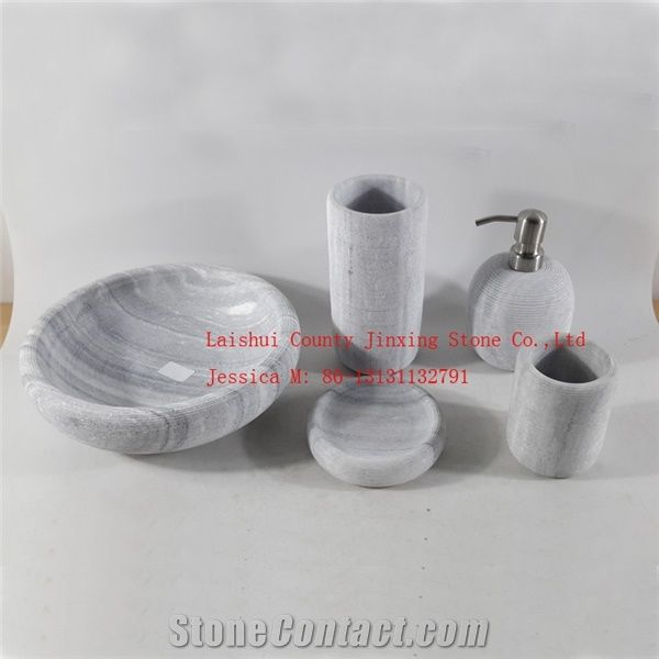 Grey Marble Bathroom Accessory Set / Marble Tumbler , Marble Soap Holder  /Marble Toothbrush Holder /Marble Soap Dispenser