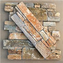 Smc-Cc176 China Hebei Gold Slate P014 Slate Cultured Stone/Ledge Stone Veneer/Stacked Stone Wall Panels/Cement Culture Stone