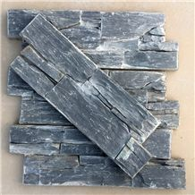 Smc-Cc177 China Hebei Slate P018 Black Cultured Stone/Ledge Stone Veneer/Stacked Stone Wall Cladding/Cement Culture Stone Wall Panel