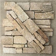 Smc-Cc179 Sesame Yellow Granite Wall Cladding with Cement Back, Slate Ledge Stone Veneer,High Quality Sesame Yellow Slate Cement Cultured Stone Veneer