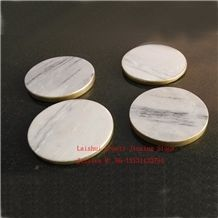 Stone Drink Cup Coaster with Golden Rim