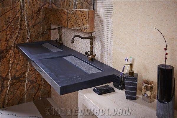 black granite bath top and wash basin black granite top and
