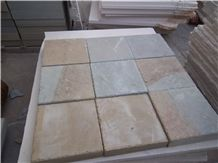 China Dual Color Yellow and Grey Sanstone Honed Cube Stone/Pavers