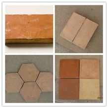 Manmade Terracotta Brown Red Yellow Hexagonal Sqaure Polish Glaze Tile
