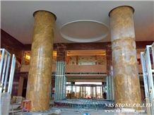 Gold Net Marble Column, China High-End Yellow Marble
