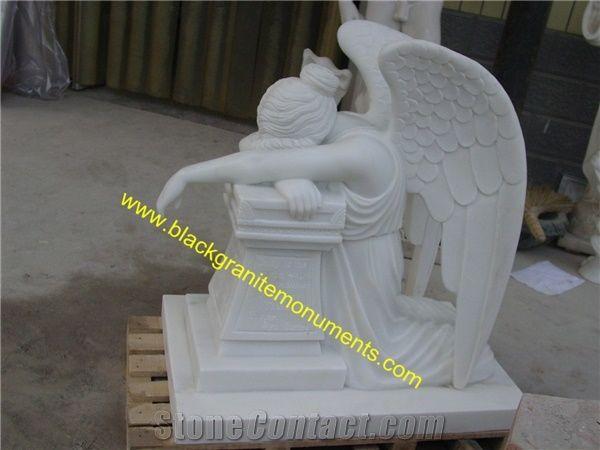 White Marble Sculpture,Handcarved Garden Statue,Weeping Angel Sculptures