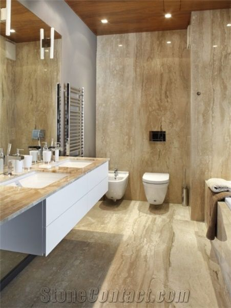 Chaperra Cream Travertine Vein Cut Bathroom Design From
