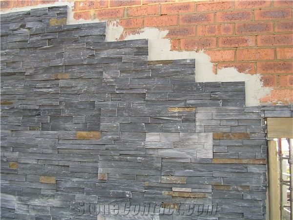 Charcoal Rust Ledger Panel Split Face Slate Cultured Stone For Wall Cladding