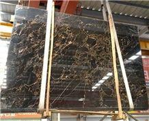 Vendome Noir,China Portoro Gold Marble,China Portoro Marble,Vendome Noir Marble,Vendome Black Marble Tile & Slab