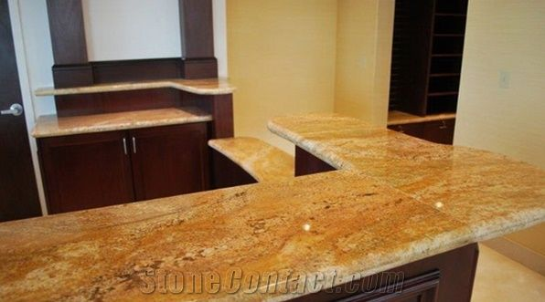 Imperial Gold Dust Granite L Shape Kitchen Tops New