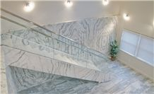 Vermont Quarries Corp Main Office Entry - Stairs with Crystal Stratus Danby Adorns the Floor with Special Cut, 2cm Thick Tiles, Stairs