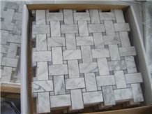 Carrara White Marble Basaket Weave Mosaics,White Marble Mosaic Tiles, China White Marble Mosaic