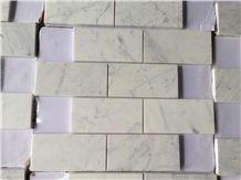 Carrara White Marble Mosaics,Brick Mosaics, White Marble Mosaic Tiles,China White Marble Mosaic